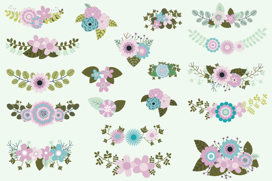 Mint violet green wedding flowers clipart, Rustic floral elements example image 2
