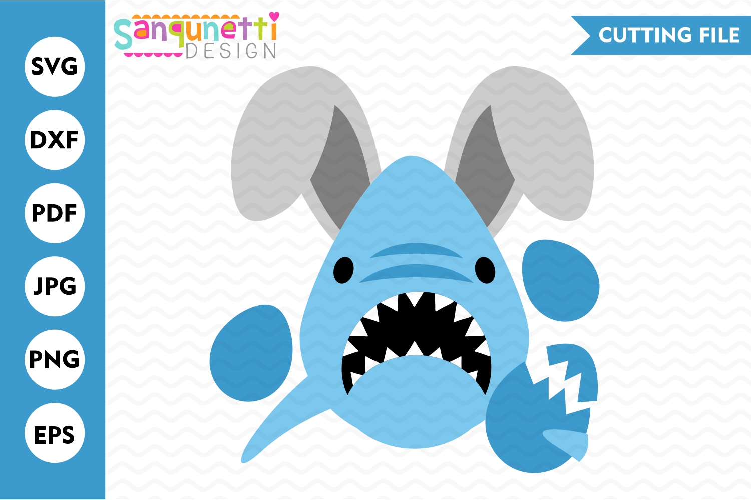 Easter Shark SVG, cutting files for boys example image 1