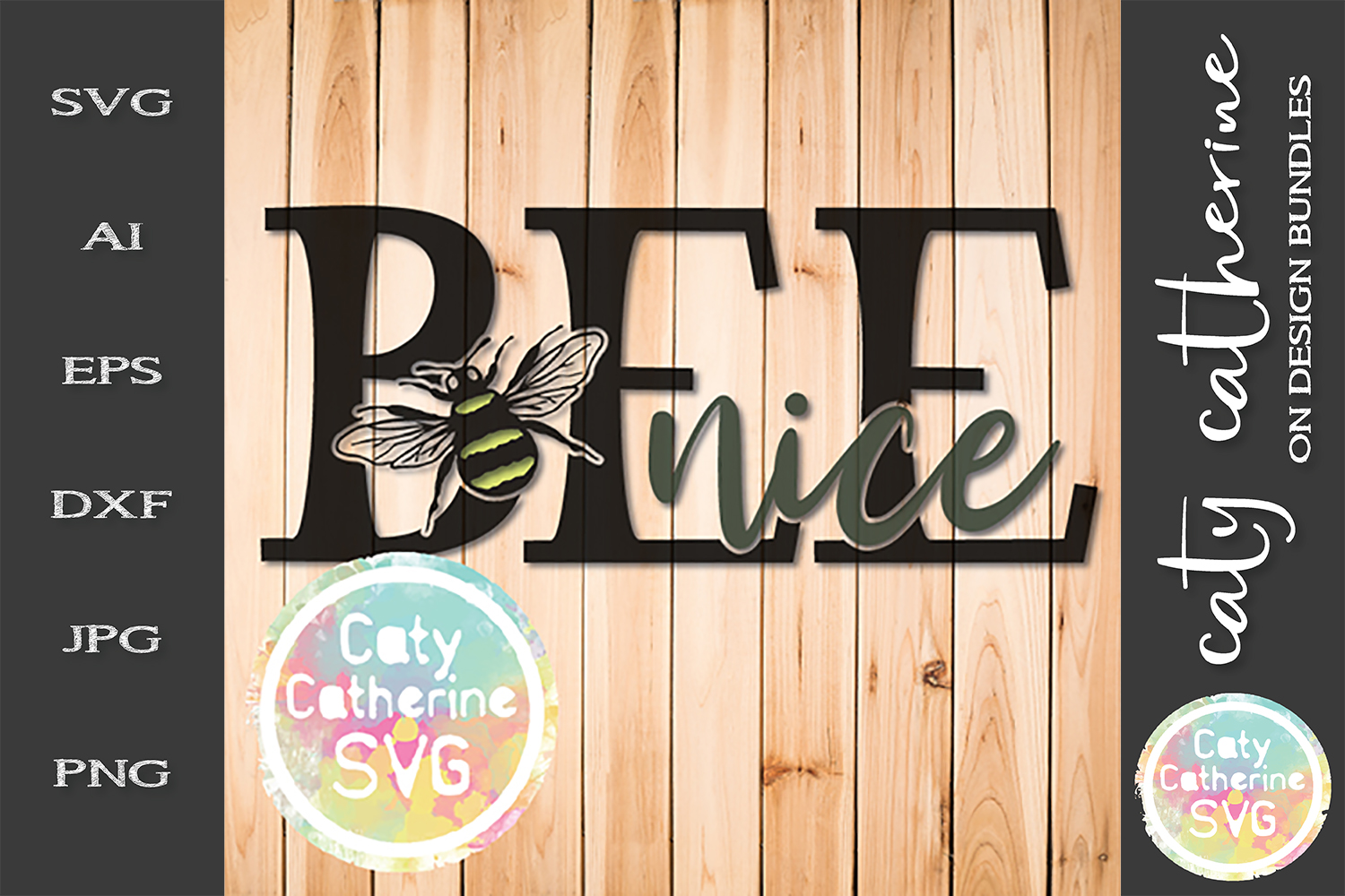 Be Nice Bumble Bee Inspirational Quote SVG Cut File example image 1