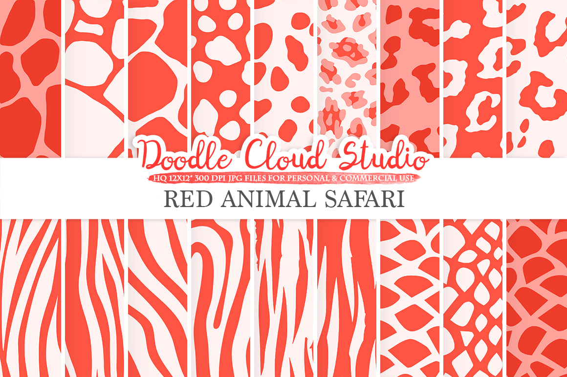 Red Animal Safari digital paper, Scarlet Fur pattern Giraffe Zebra Leopard Snake Tiger background Instant Download Personal & Commercial Use example image 1