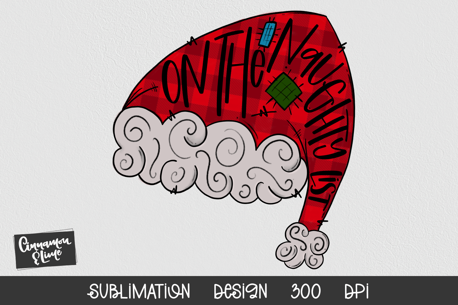 Santa Hat Sublimation Design - On The Naughty List example image 1