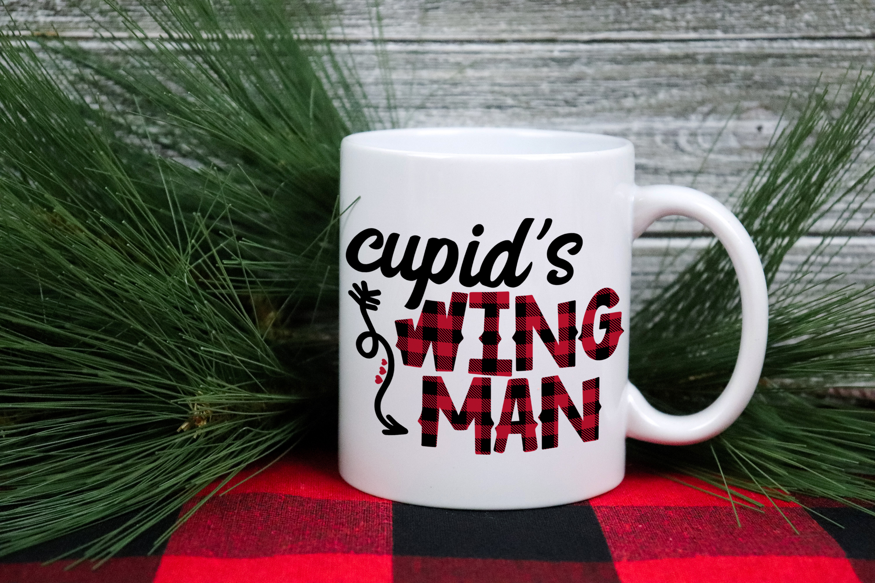 Cupid's Wing Man - A Buffalo Plaid Valentine's Day SVG example image 3