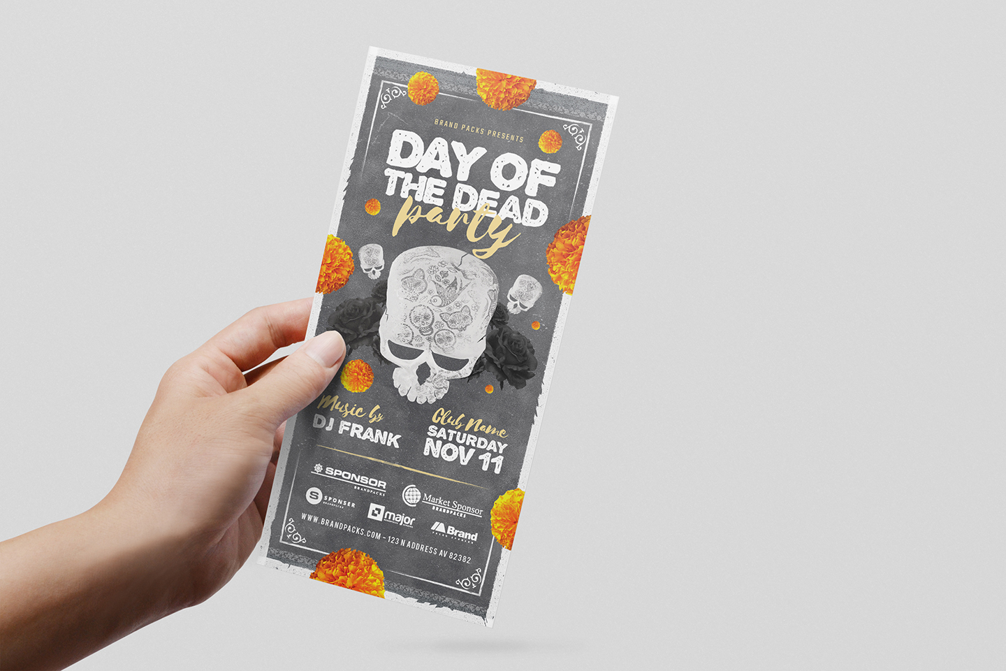 Day of The Dead Party Flyer Template example image 8