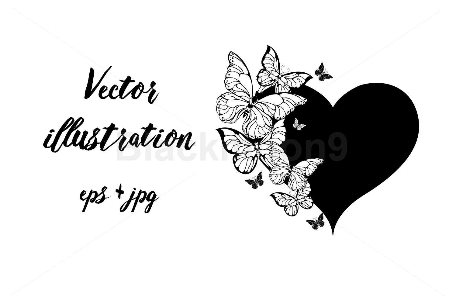 Black Heart with Contour Butterflies example image 1