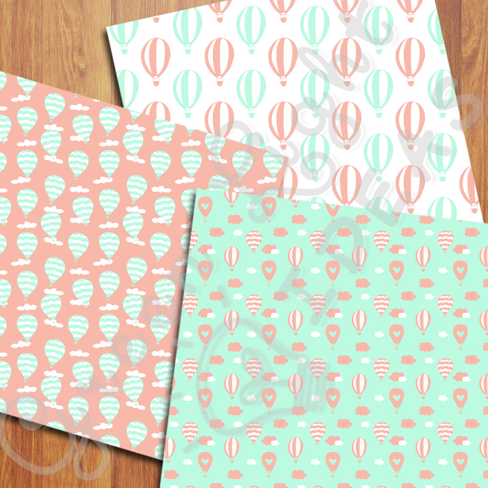 Mint and Coral Hot Air Balloons Digital Papers example image 2