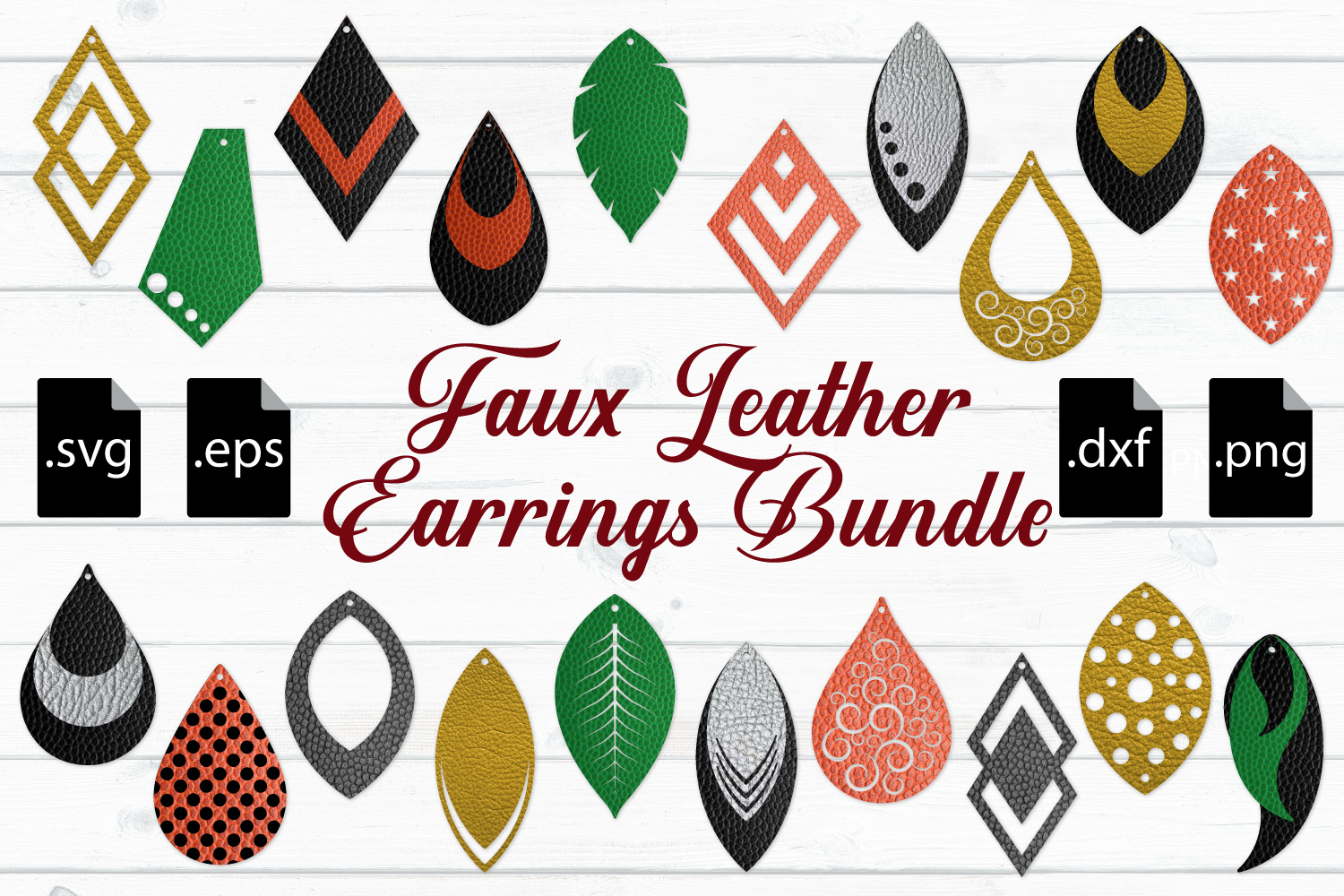 Download Faux Leather Earrings Bundle SVG, EPS, DXF, PNG (99717 ...