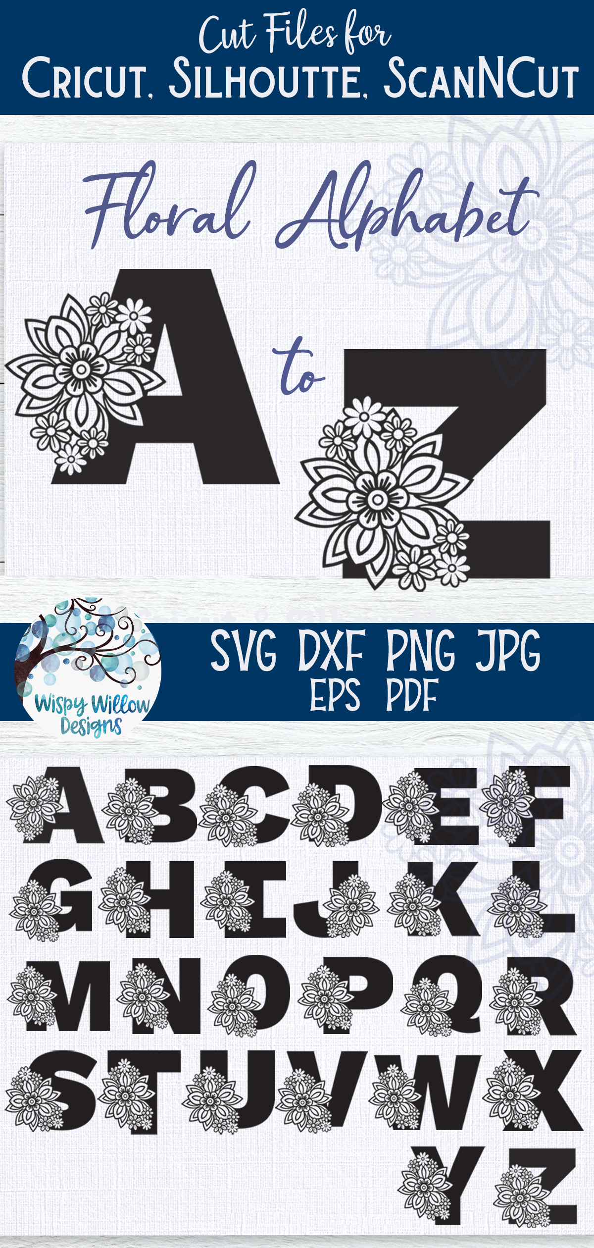 Floral Alphabet SVG Bundle | A to Z Floral Letters SVG example image 5