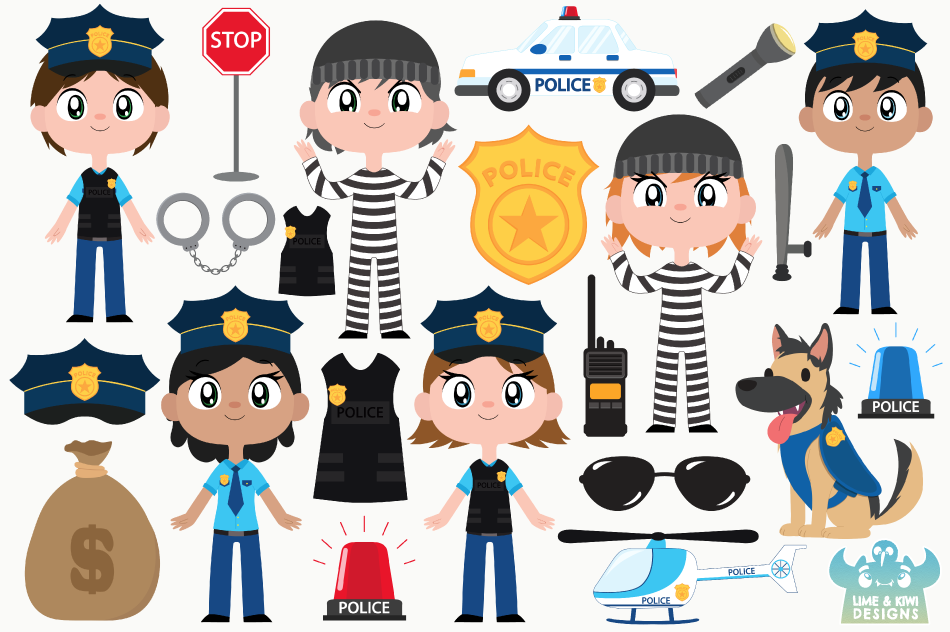 Police Cops and Robbers Clipart, Instant Download Vector Art example image 2