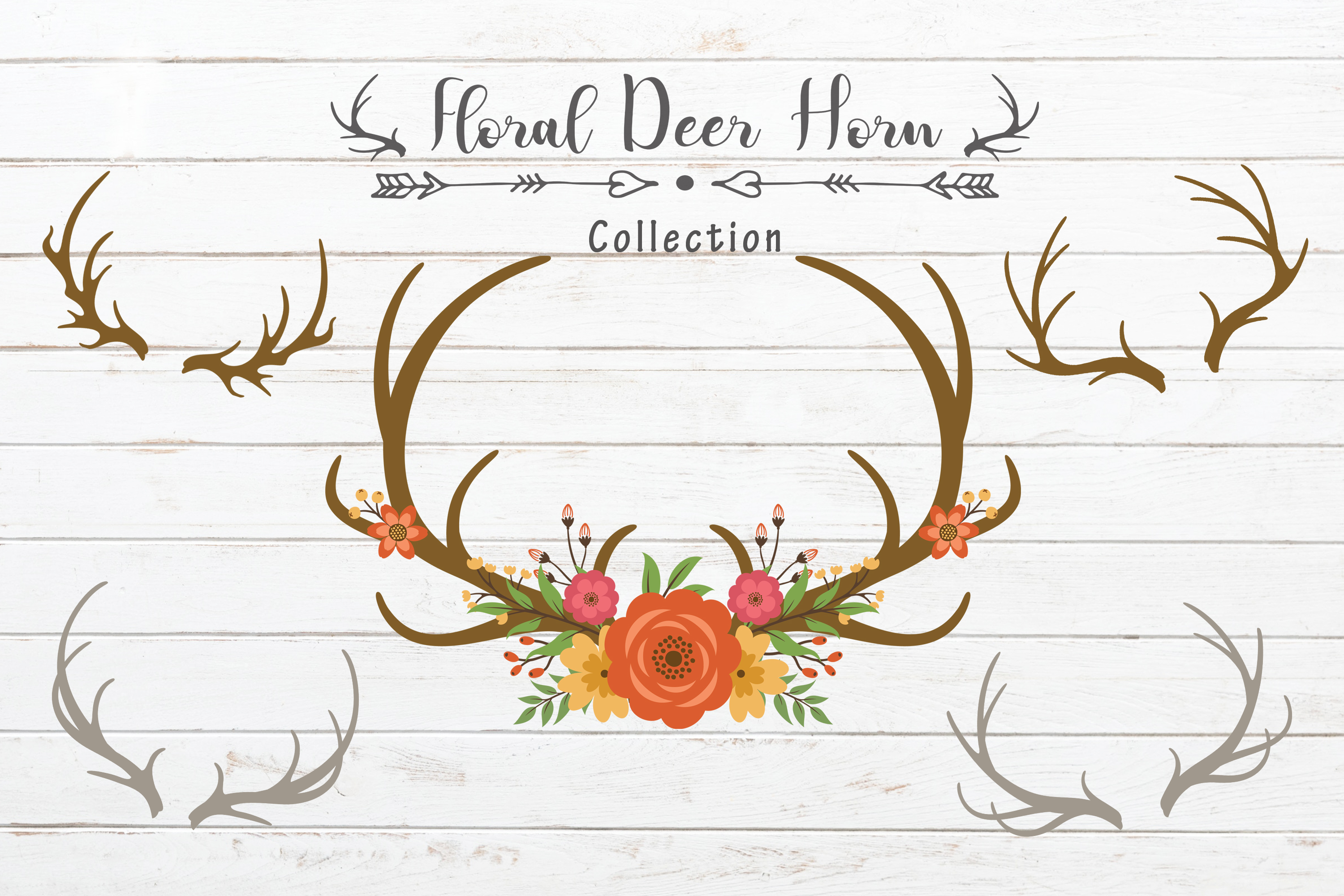 Bundle Set of Deer antlers floral example image 2