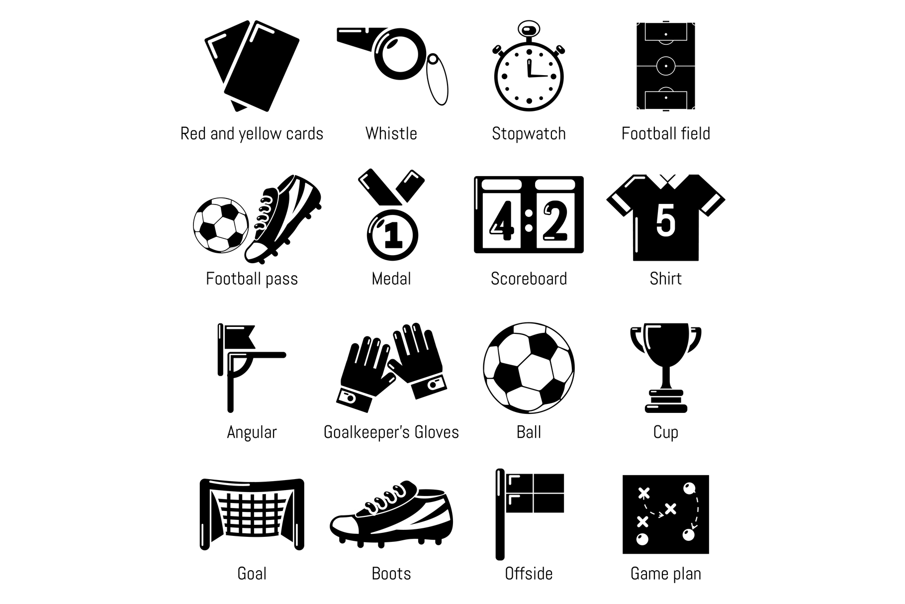 Soccer football icons set, simple style example image 1