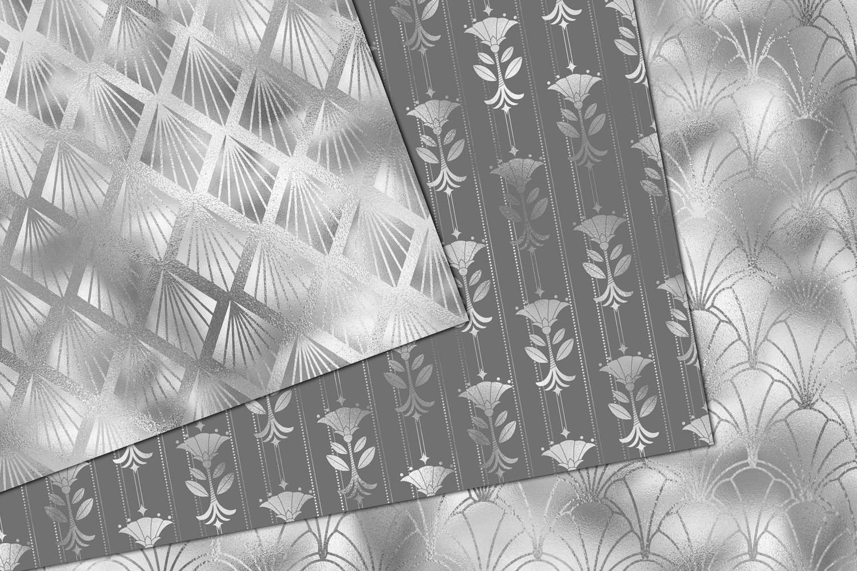 Silver Art Deco Digital Paper example image 3
