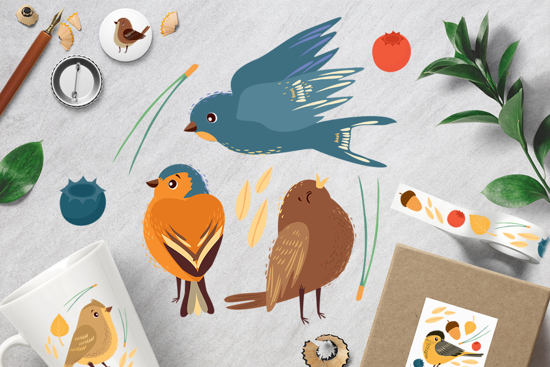 Little birds. Vector set example image 3