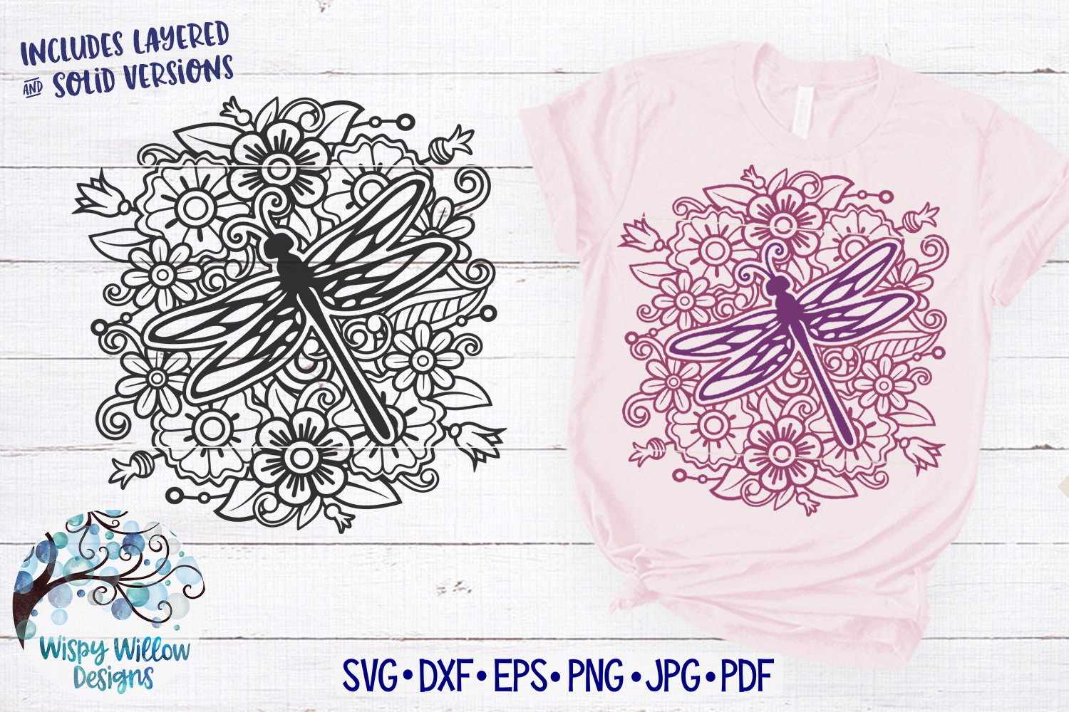 Dragonfly Mandala SVG | Dragonfly with Flowers SVG Cut File example image 1