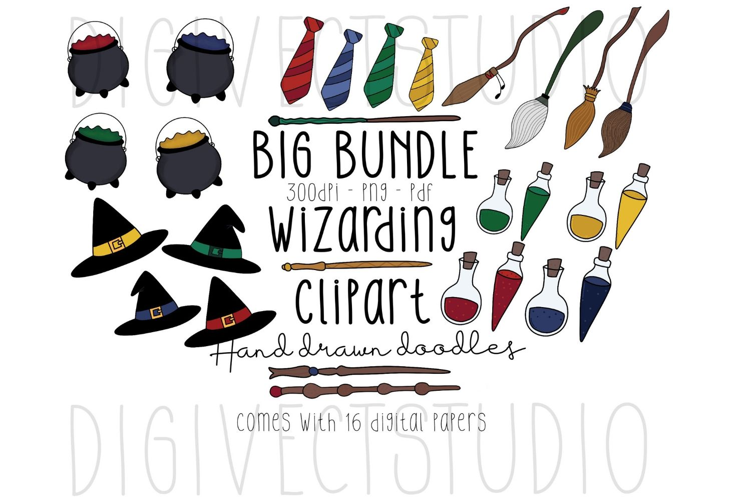 Wizarding Clipart BUNDLE - Witch Clipart - Wizard Clipart example image 1