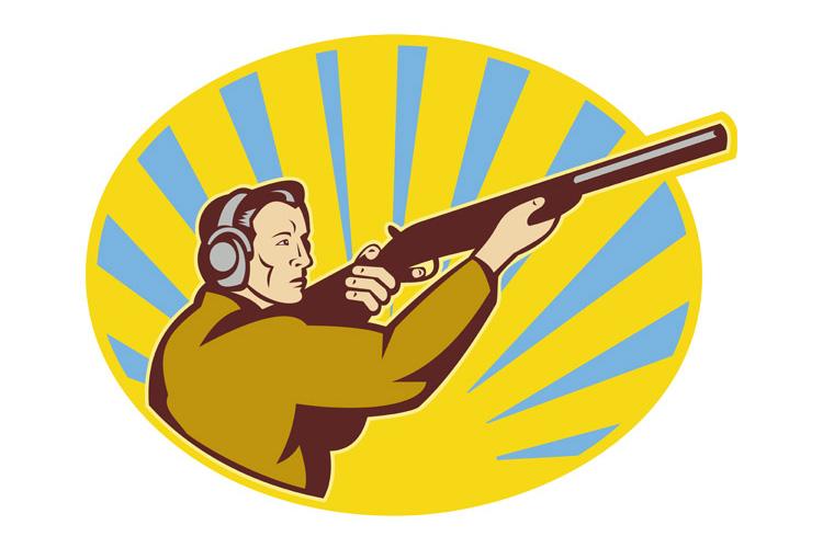 Hunter aiming rifle shotgun side view example image 1