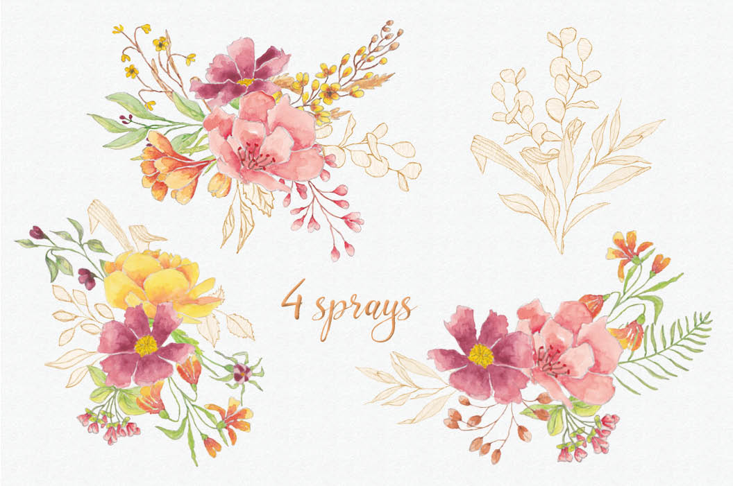 Warm winter hues - watercolor wreaths and sprays example image 5