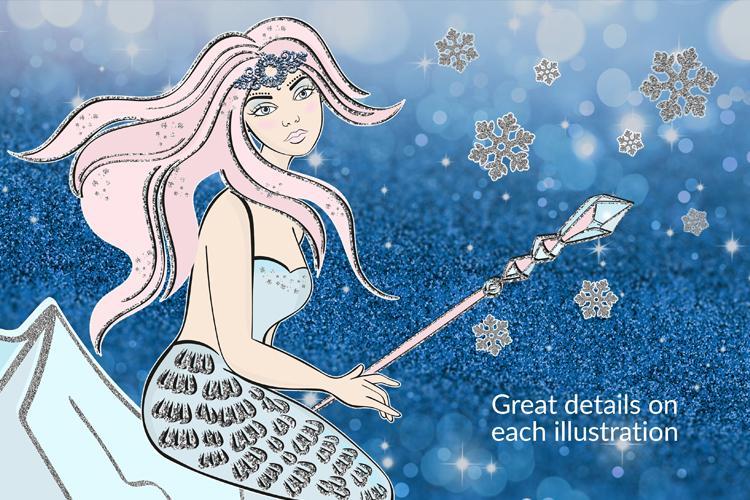 ICE MERMAID Glitter Christmas Illustration Set example image 4