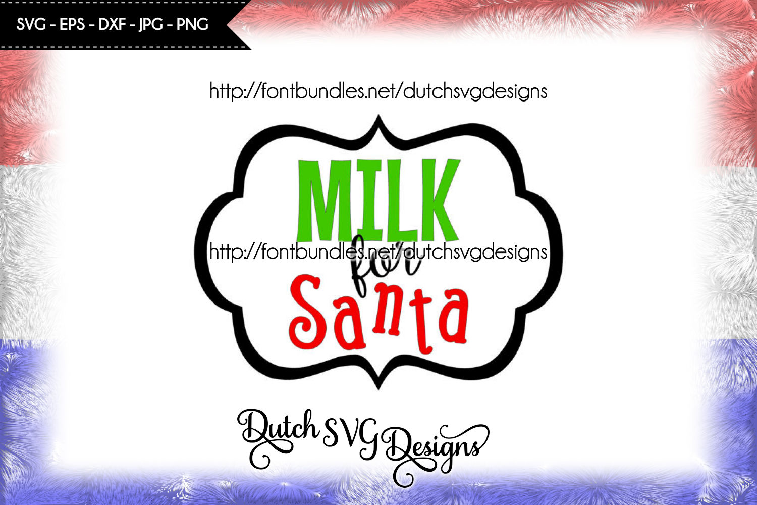 Cutting file Milk for Santa with frame, in Jpg Png SVG EPS DXF, for Cricut & Silhouette, christmas svg, xmas svg, santa svg, santa's milk example image 1