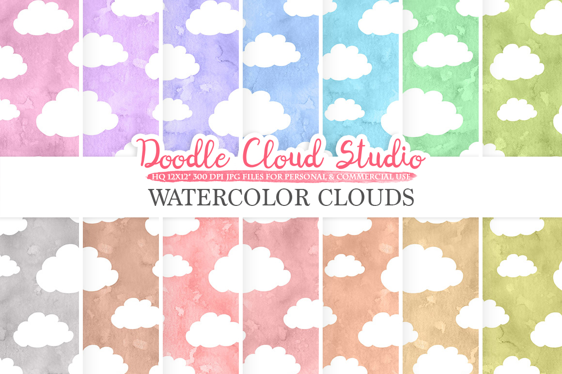 Watercolor Cartoon Clouds digital paper, Cloud pattern, pastel watercolor background, Instant Download, for Personal & Commercial Use example image 1