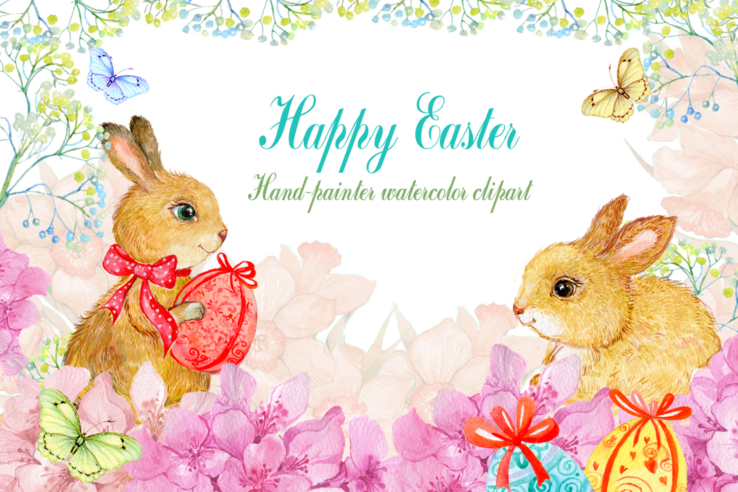 Easter watercolor. Clipart bunnies