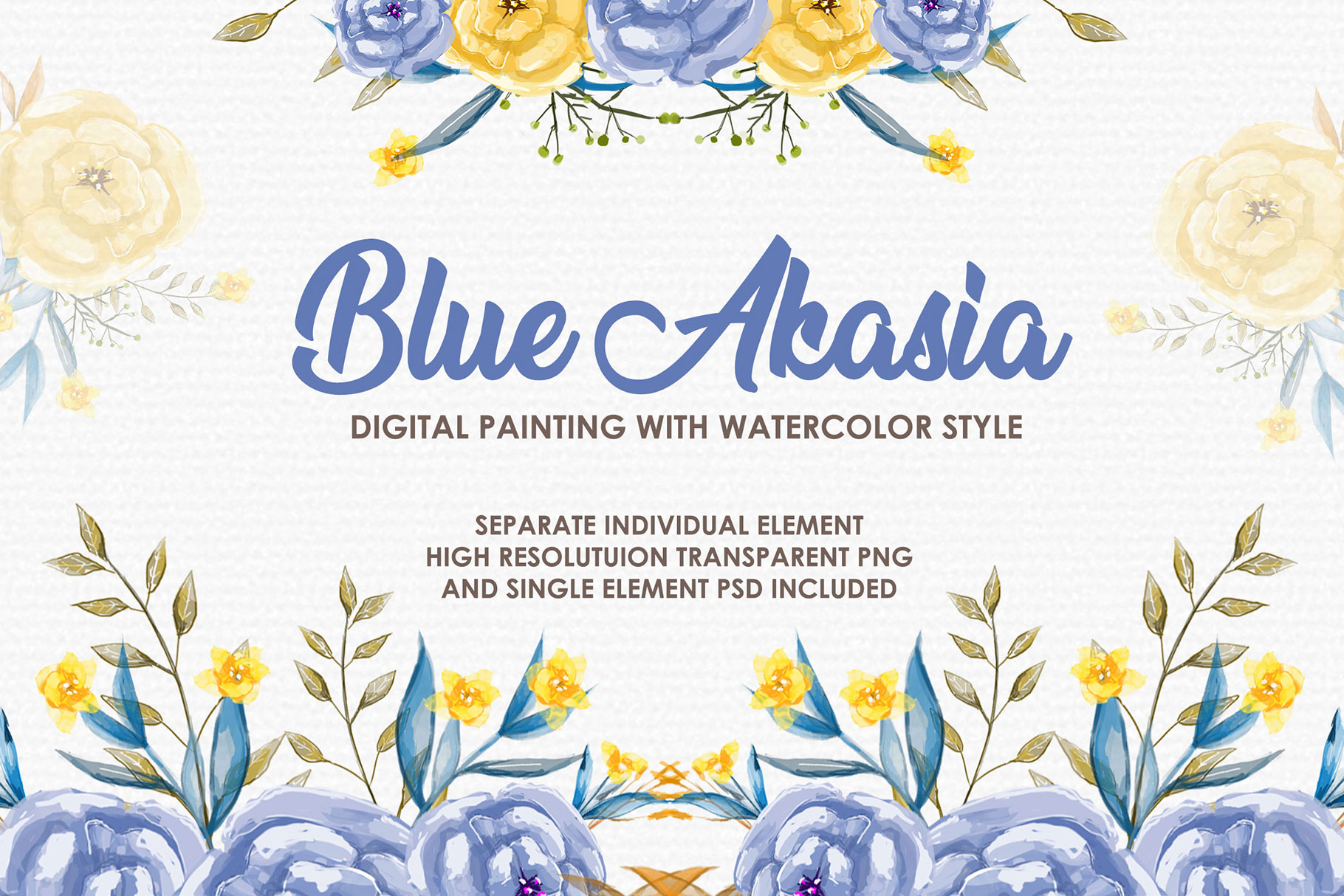 Blue Akasia - Digital Watercolor Floral Flower Style Clipart example image 1