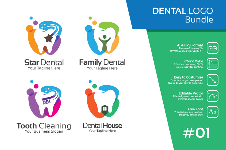 Set bundle logo - Dental and dentist bundle logo #1 example image 1