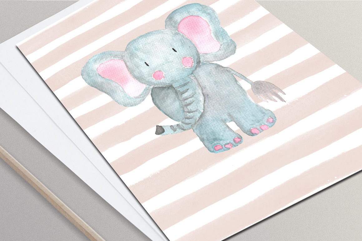 Cute Animals Watercolor Set example image 4