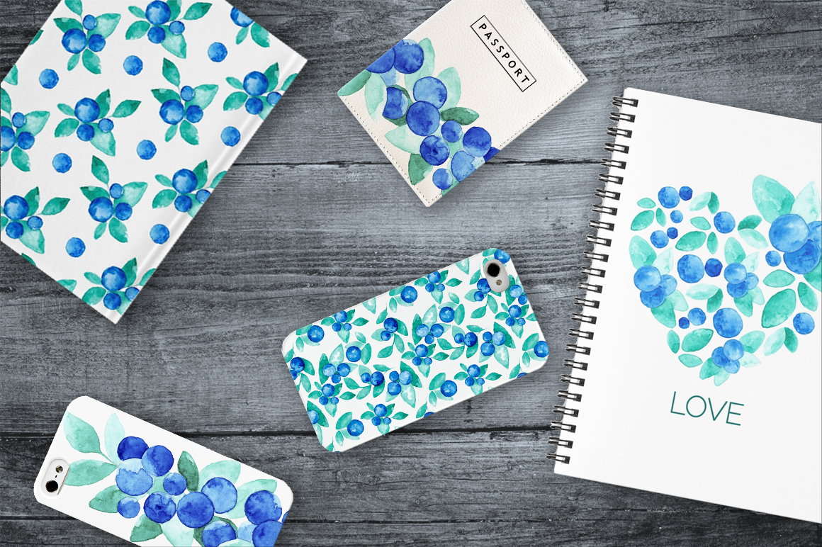 Blue Berries Watercolor Design Set example image 4