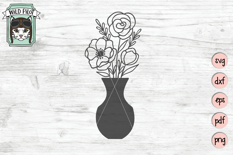Flower VaseSVG file, Floral Vase cut file, Bouquet clipart example image 6