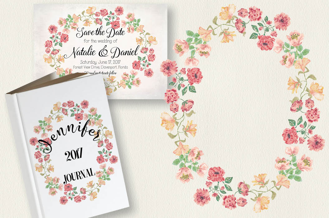 Watercolor clip art bundle: Vintage roses example image 5