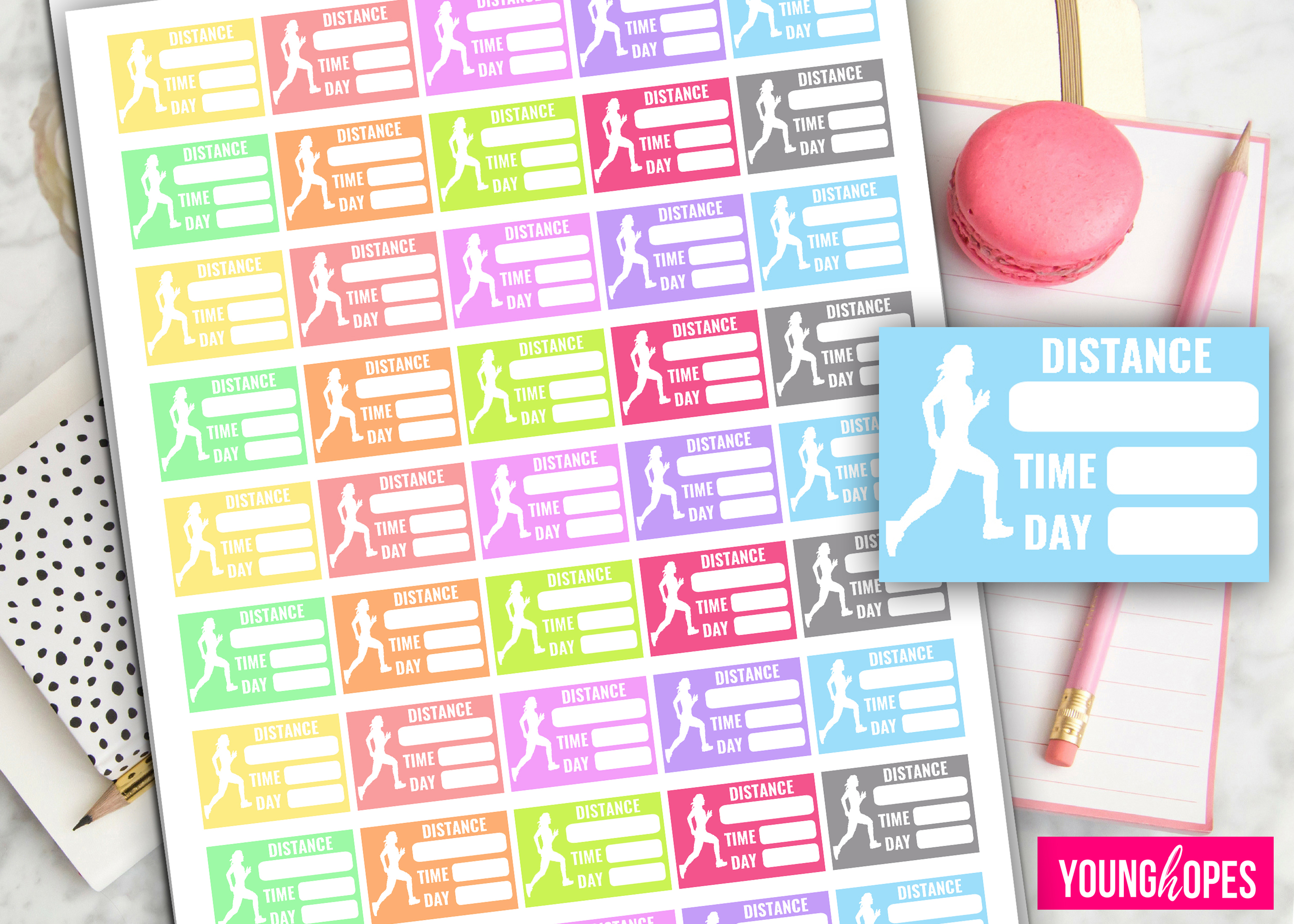 Running Planner Stickers-Half Box Planner Stickers- example image 2