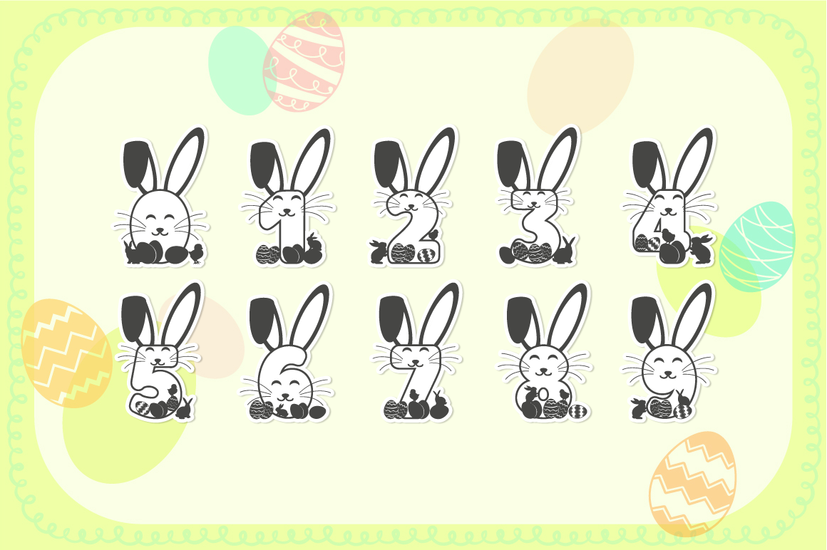 Easter Bunnies SVG Alphabet with A-Z Letters & Numbers example image 4