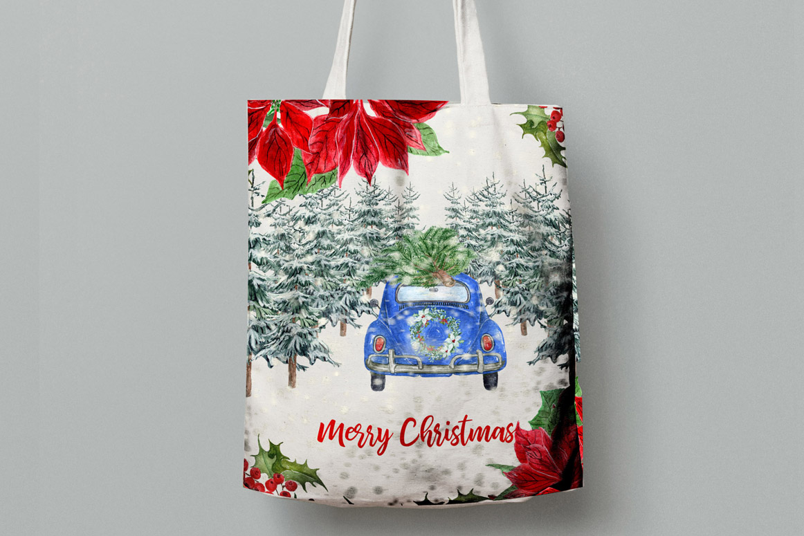 Watercolor Christmas Cars,Christmas Wreaths clipart Winter example image 5