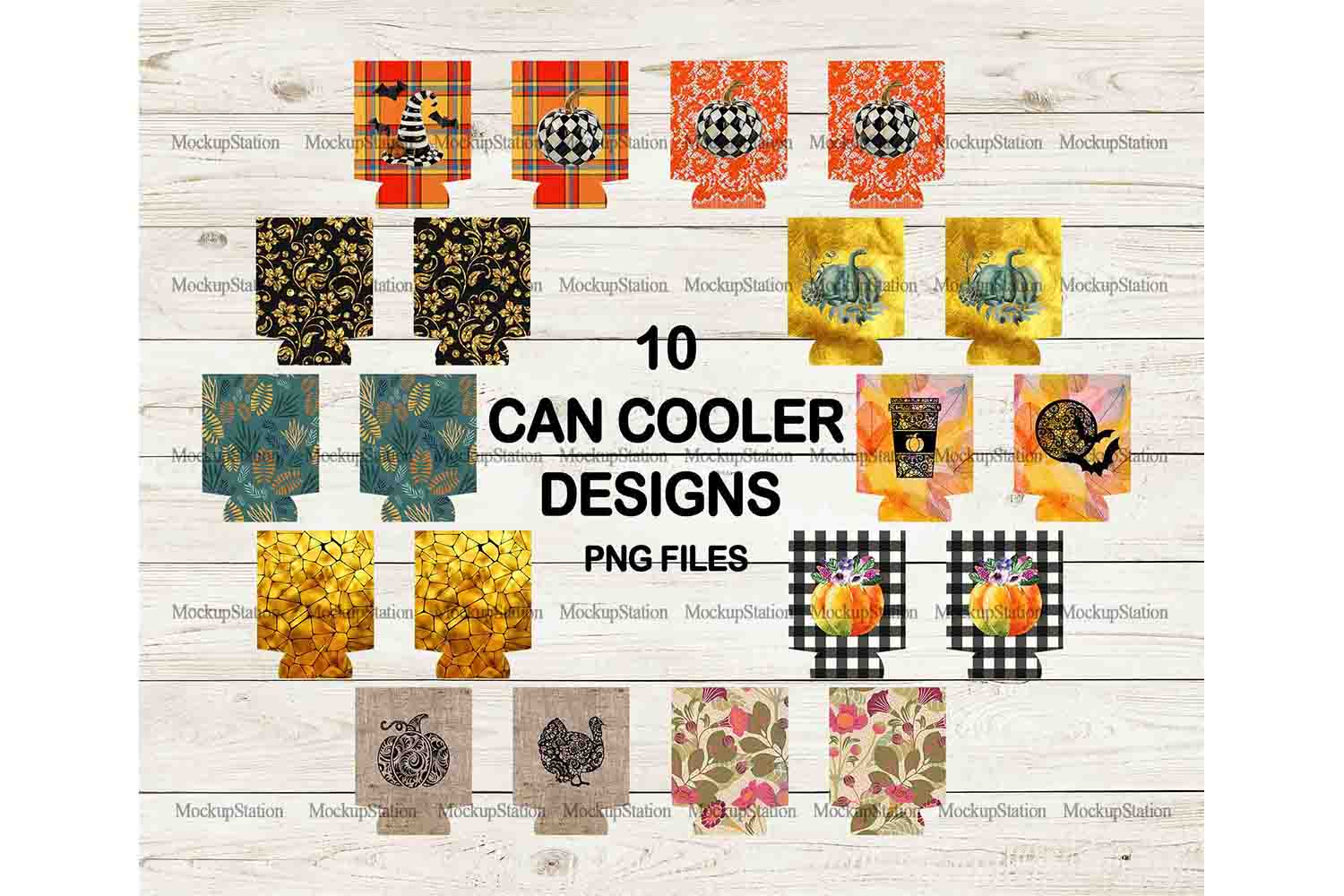 Fall Can Cooler Sublimation Template Bundle, Halloween PNG example image 1