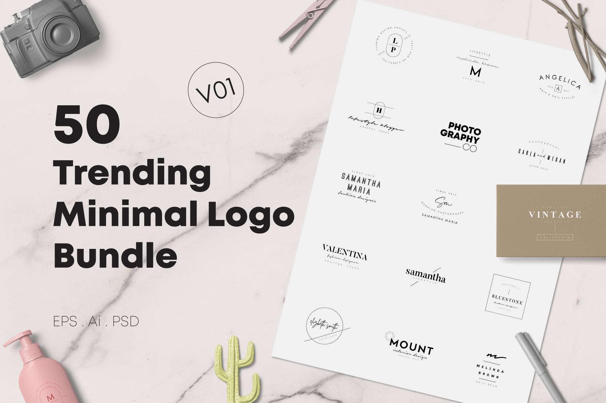 50 Trending Minimal Logo Bundle V01 example image 1