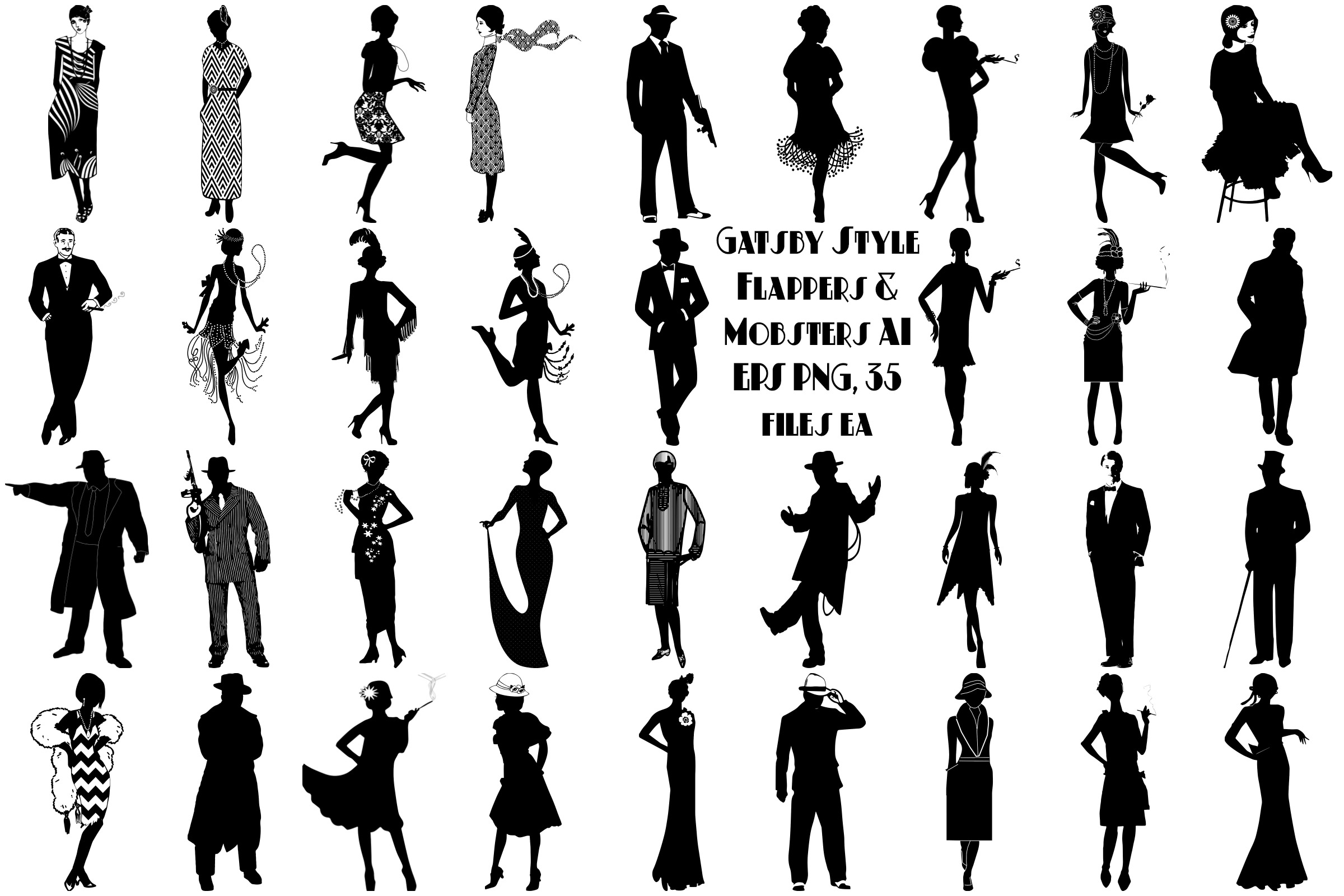 Art Deco Gatsby Style Flappers & Mobsters AI EPS Vector &PNG example image 1