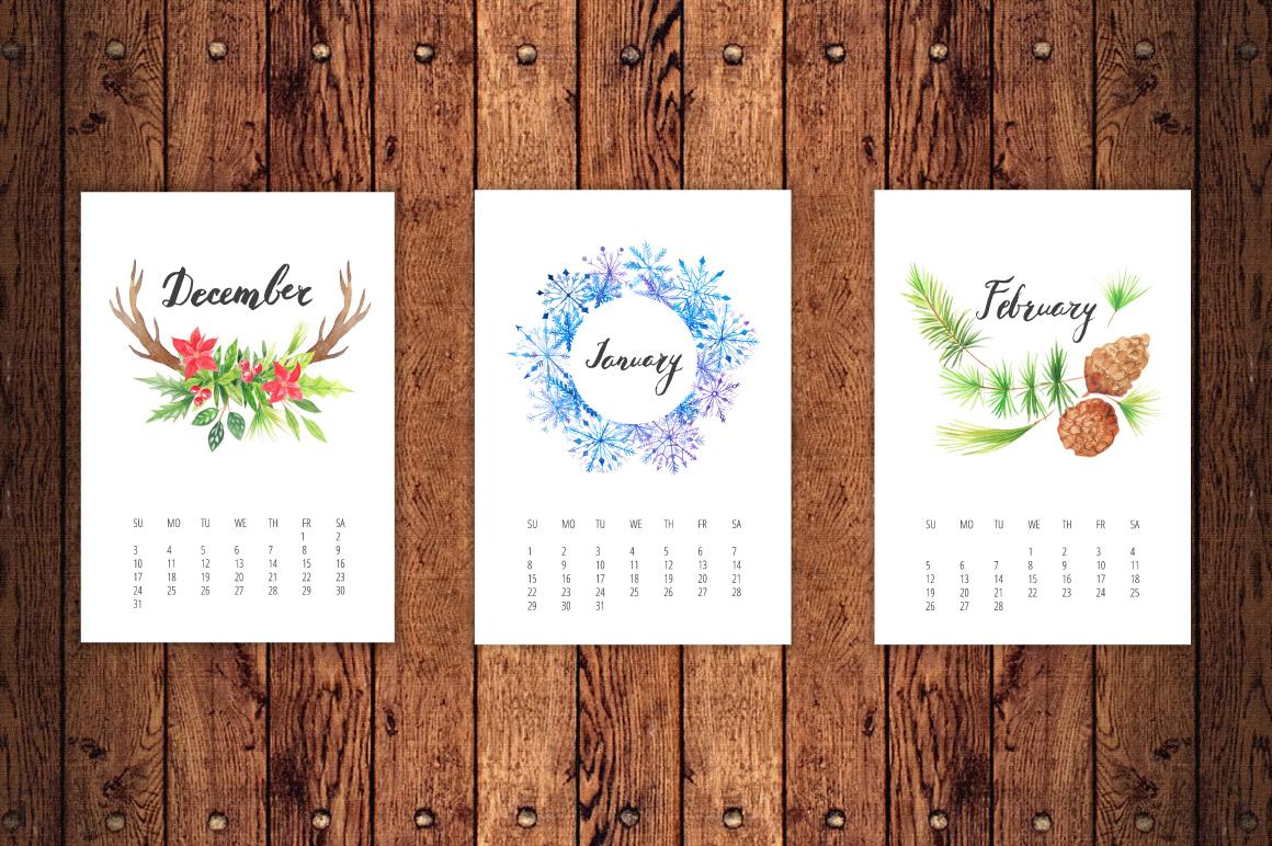 Watercolor Calendar 2017 Template example image 2