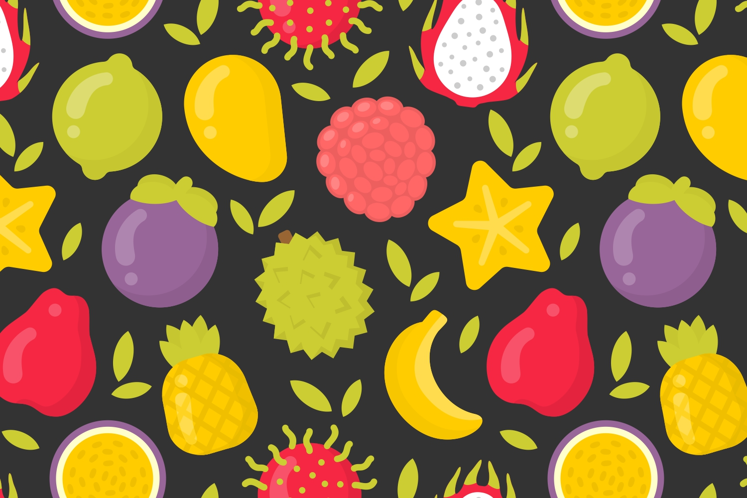 4 cute exotic fruits patterns example image 5