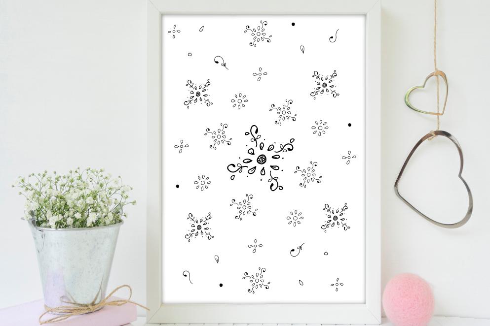 Floral Doodle Ink Pattern, A1, SVG example image 4