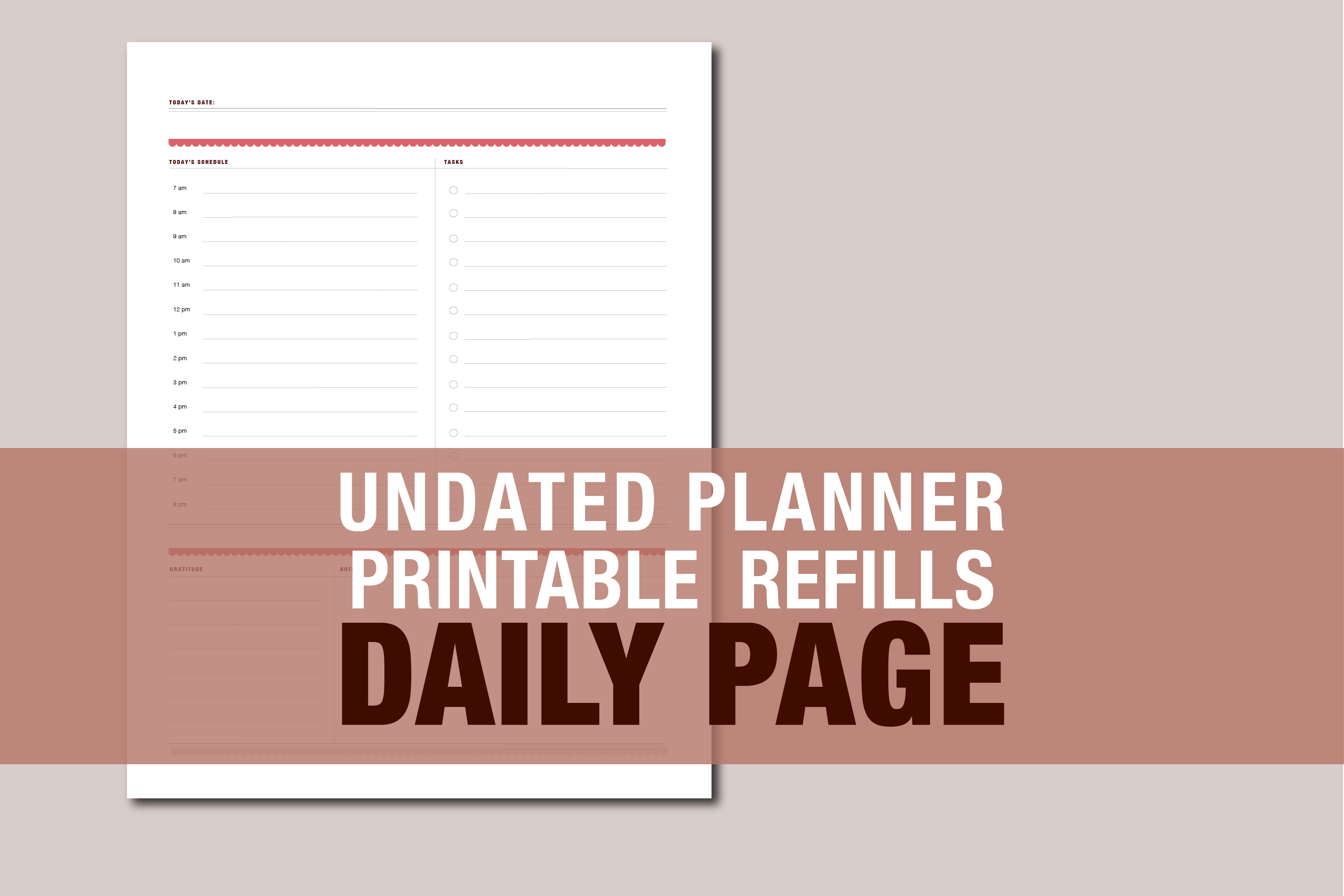 Planner Printable - Vertical Day Column Weekly agenda example image 9