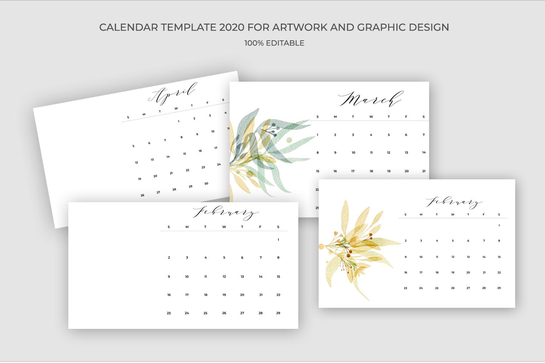 2020 Calendar Template PSD-JPG-PDF | Easy to edit example image 3