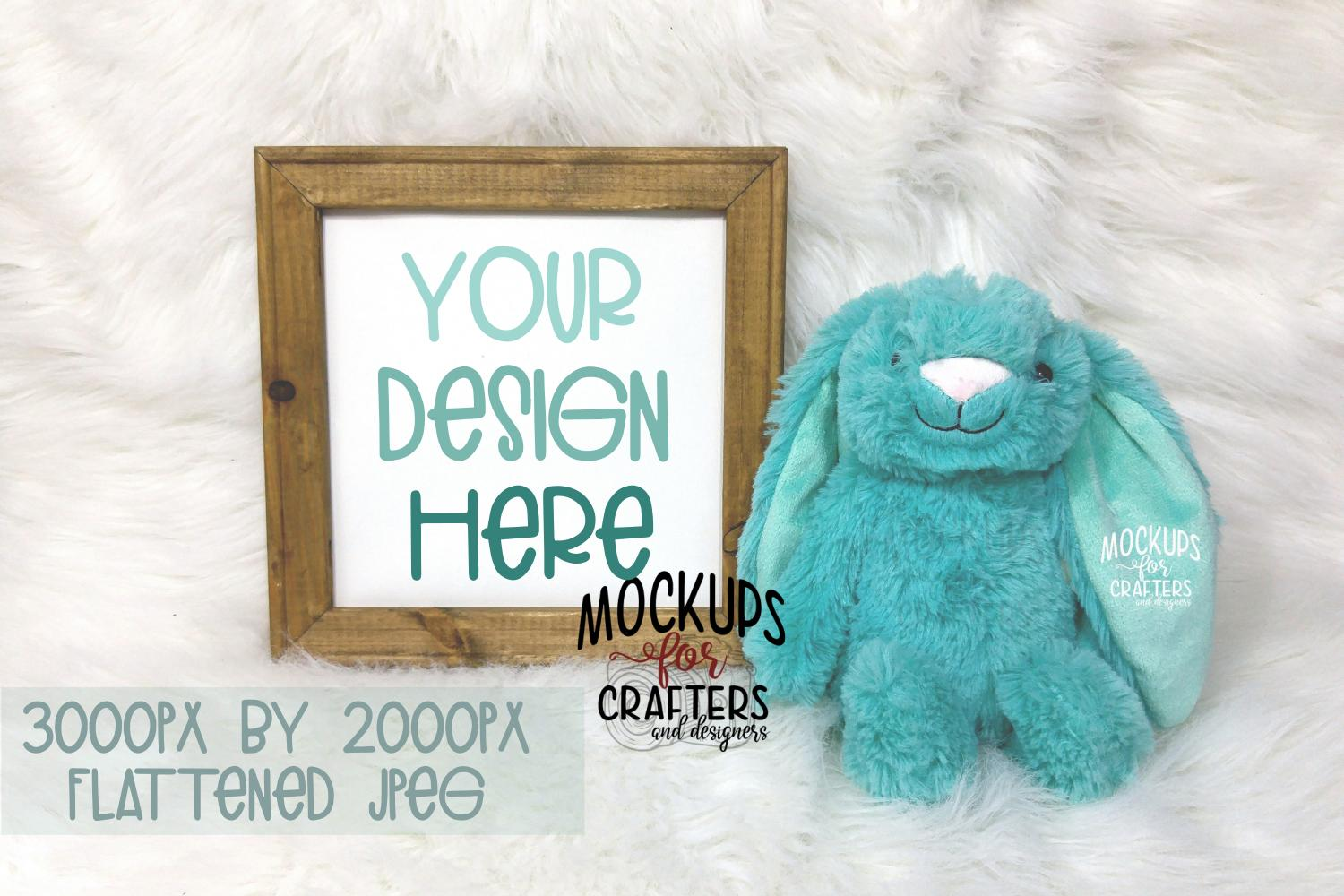 REVERSE CANVAS with teal bunny, Mock-Up, Double Duty example image 1