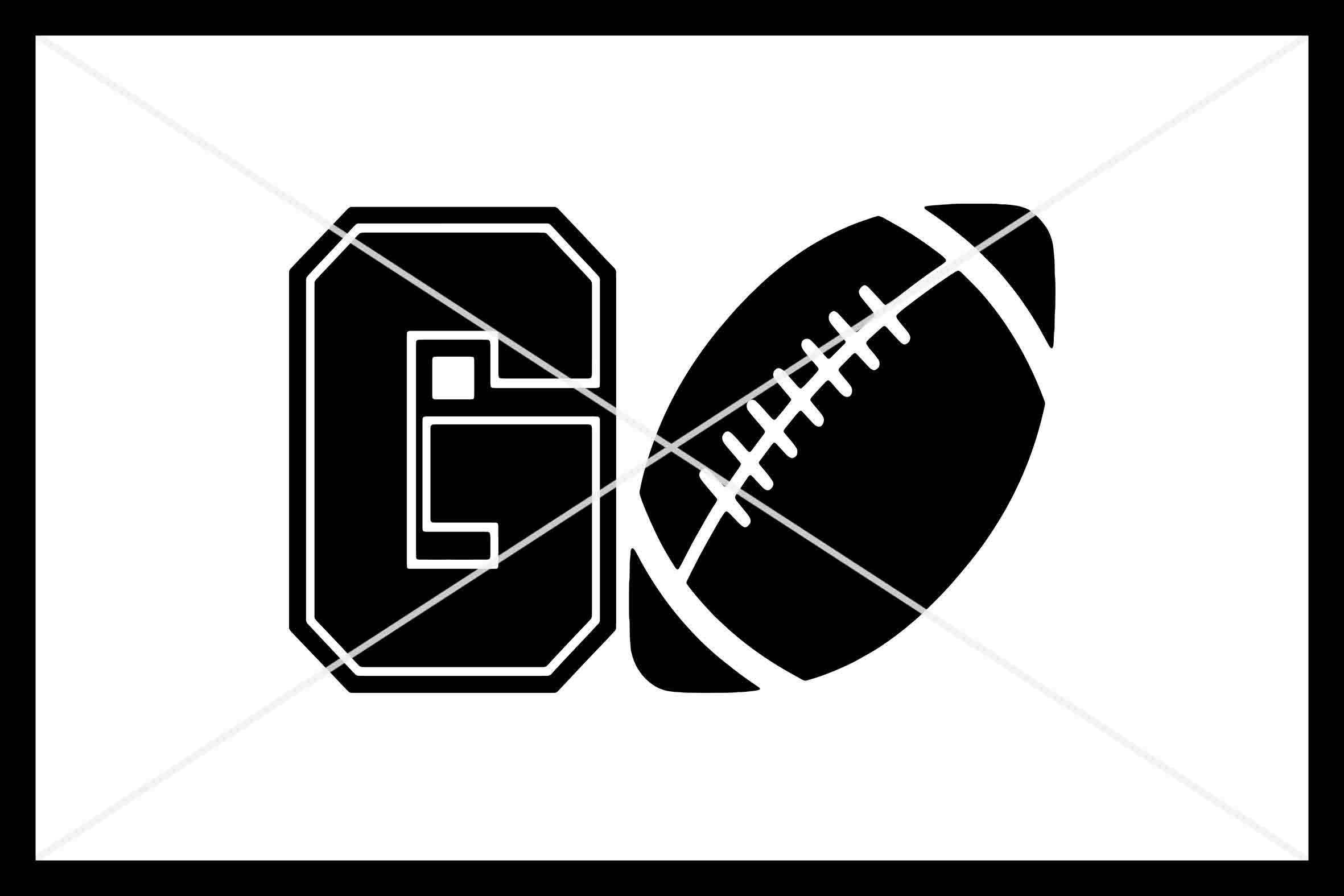 GO Football, Cut File, Silhouette Cameo, Cricut, SVG DXF PNG example image 1