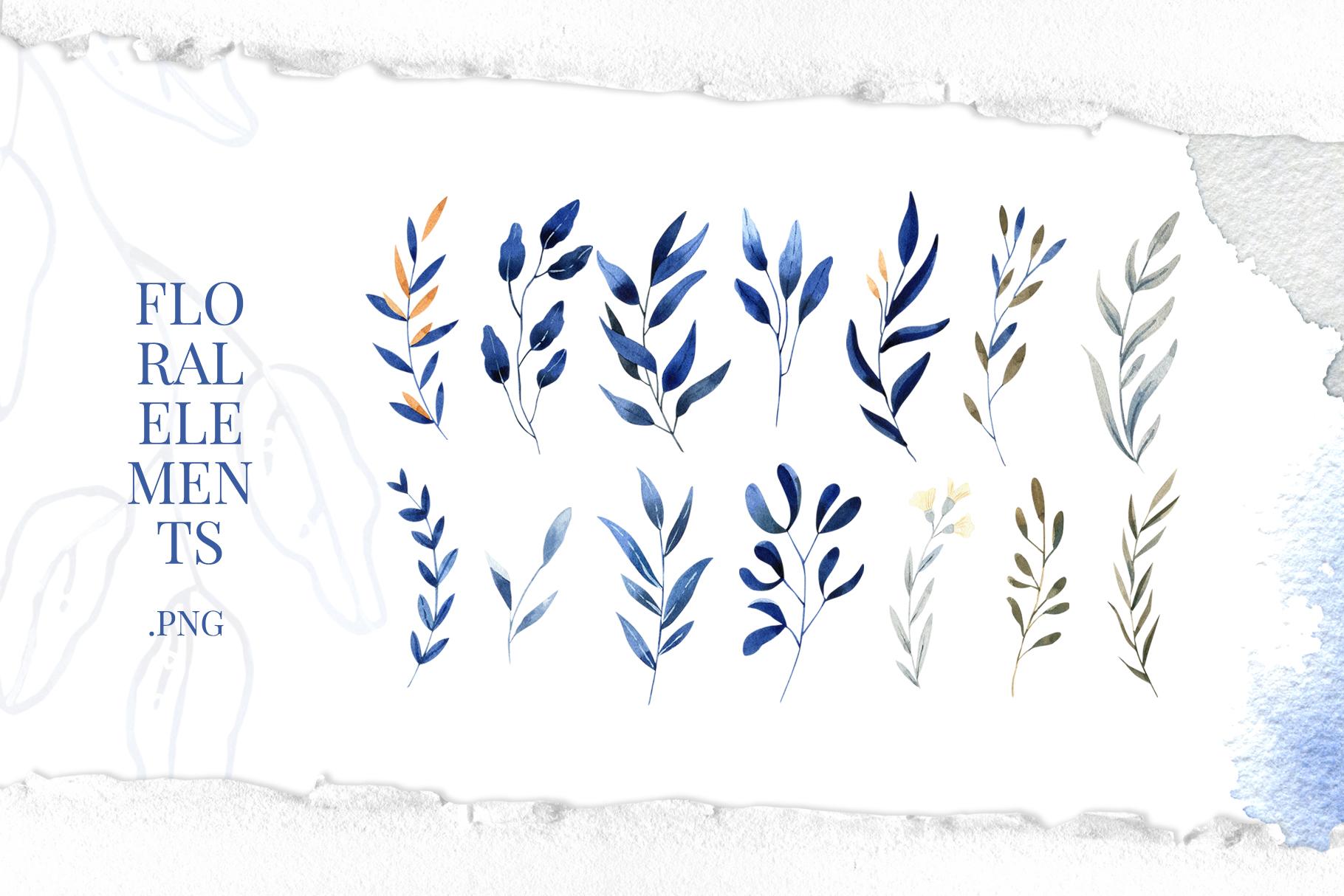 Deep Blue Alphabet Watercolor Design Kit example image 7