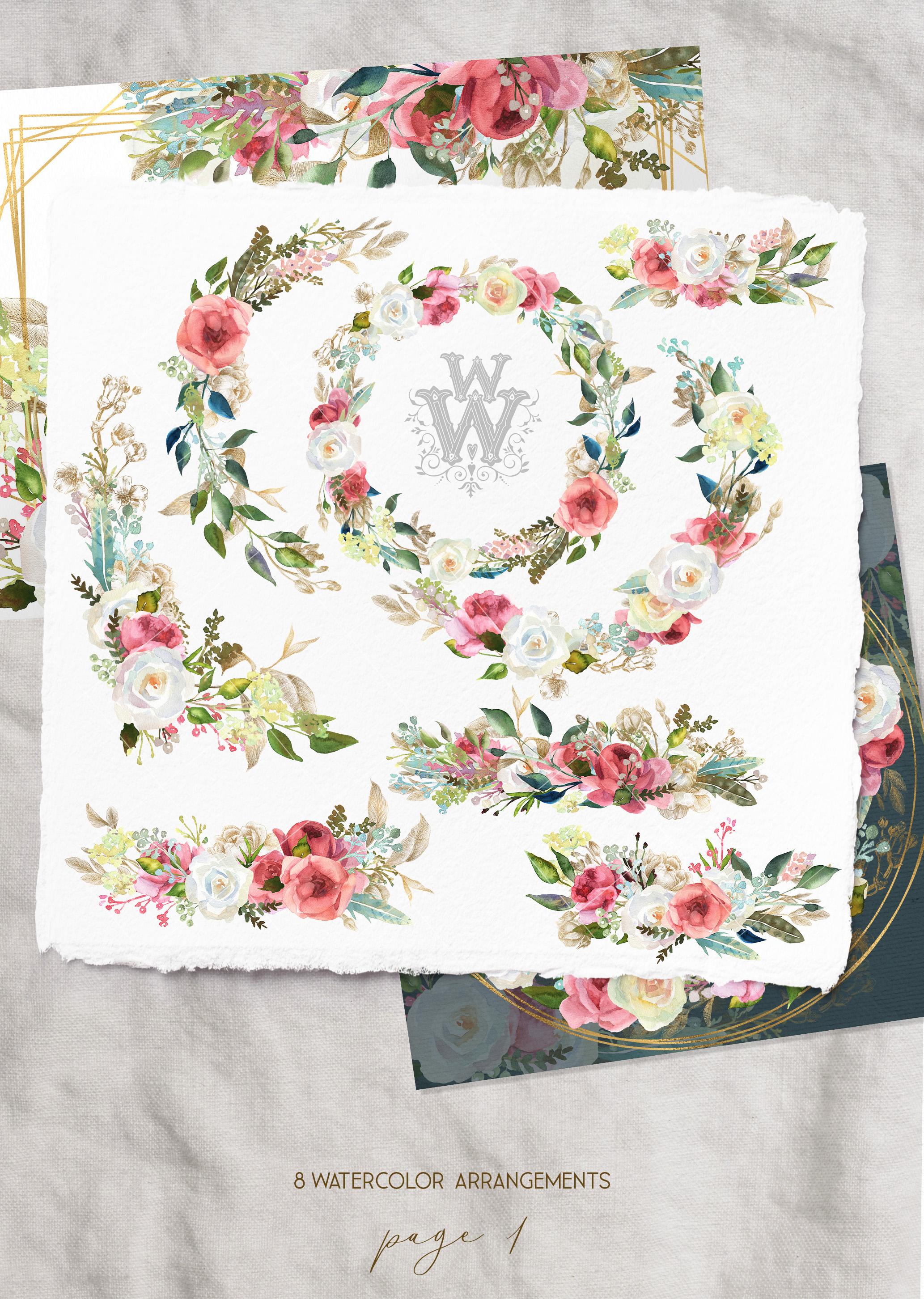 Watercolor rustic wedding bouquets clipart, vintage wreath example image 2