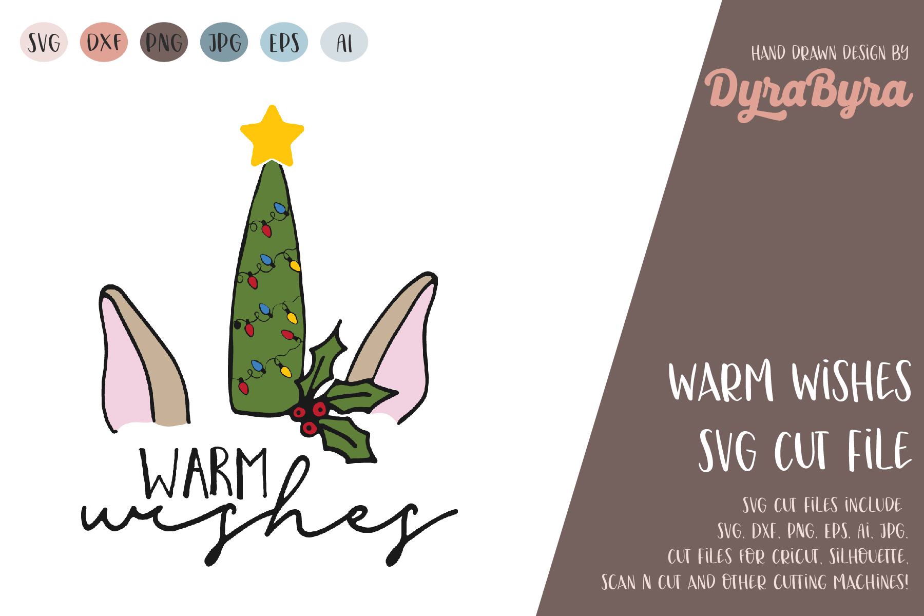 Warm Wishes SVG / Christmas SVG Cut File example image 2