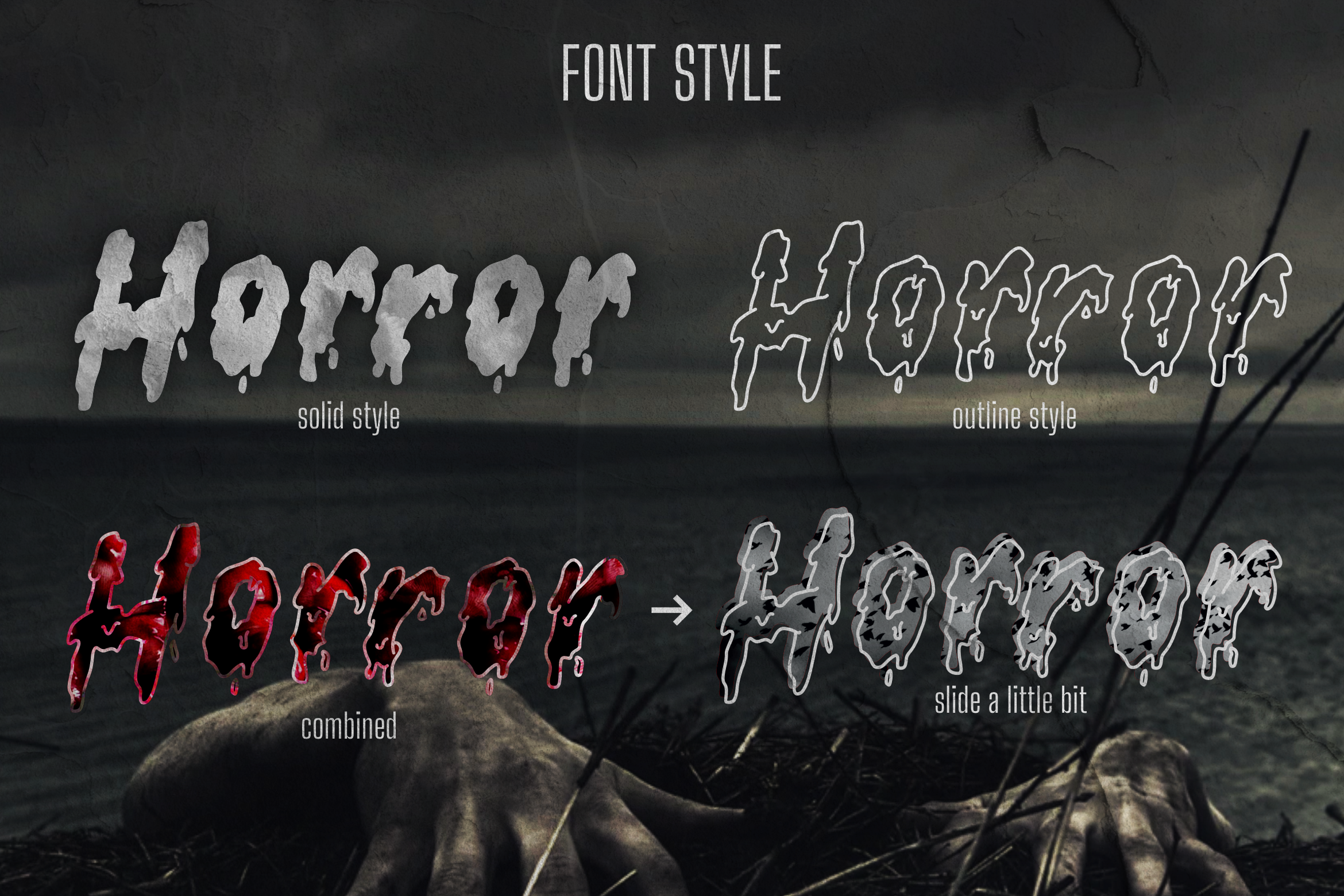serrem - a spooky two style font example image 2