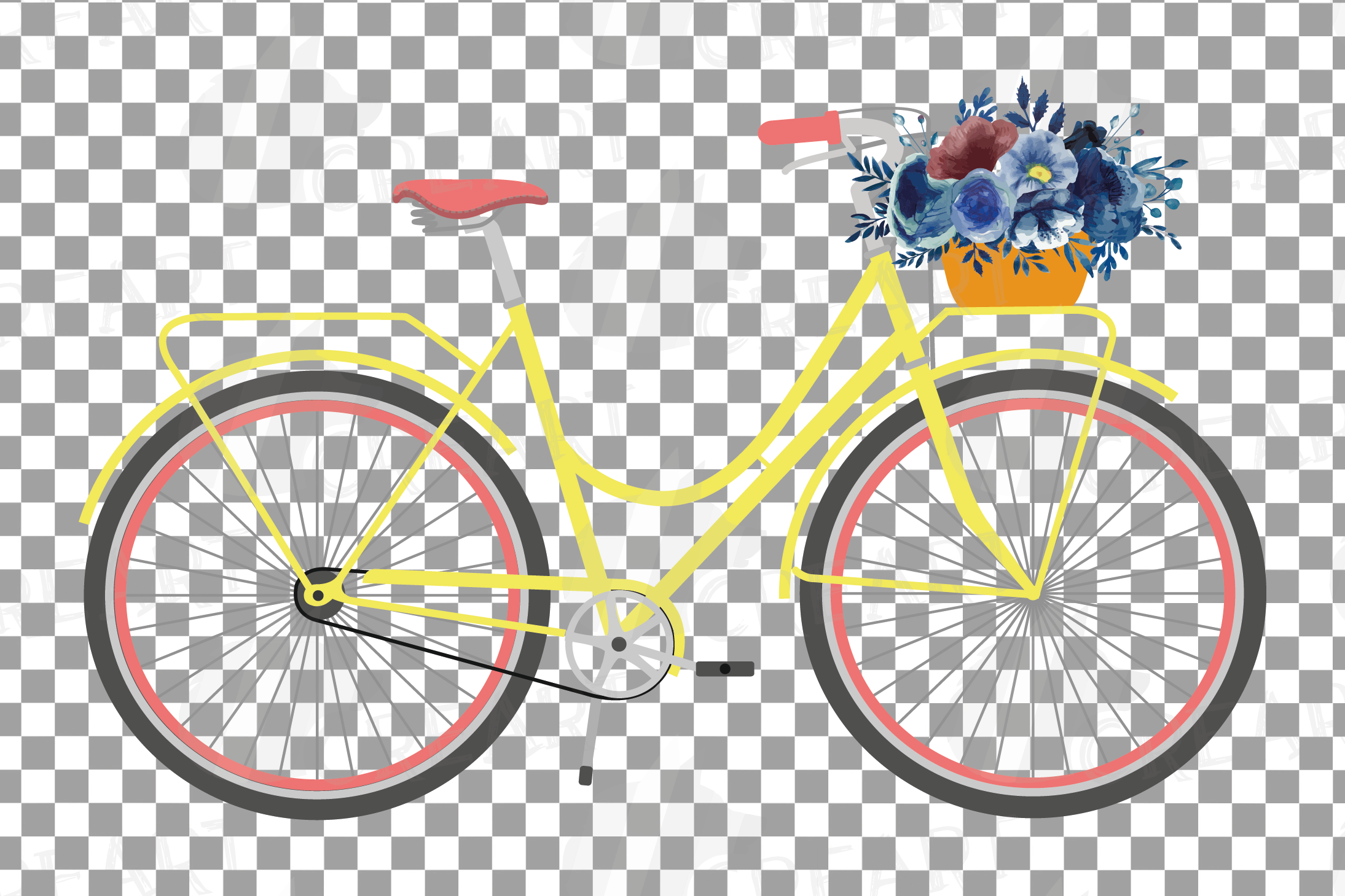 Navy blue floral blush and yellow bicycles clip art pack example image 3