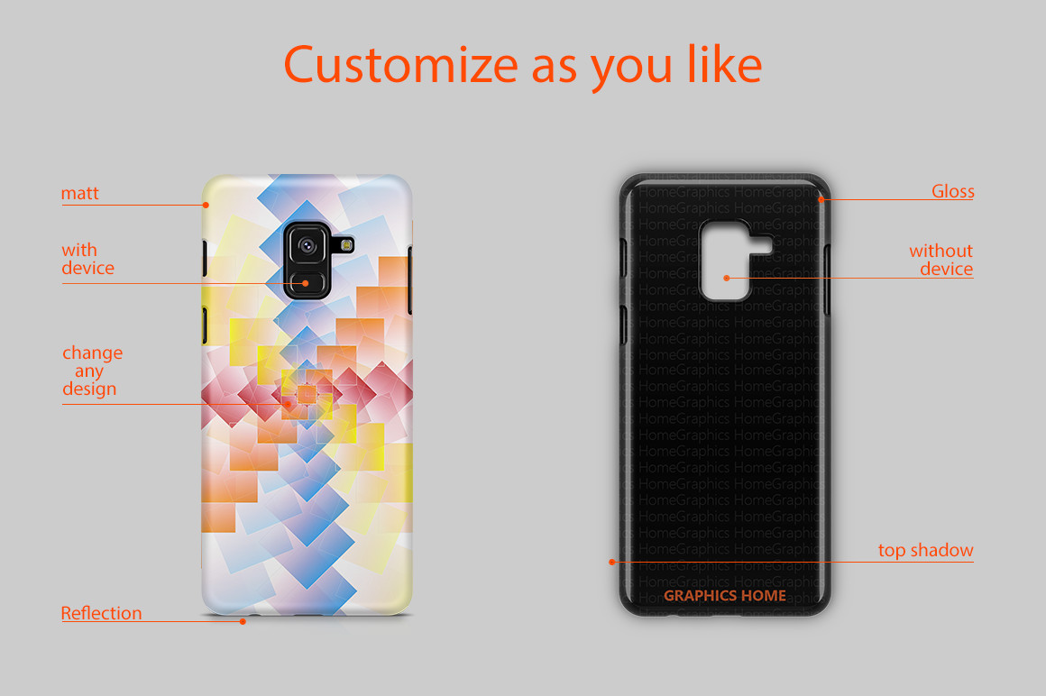 Samsung Galaxy A8 2018 3D Case Design Mockup Back View example image 2