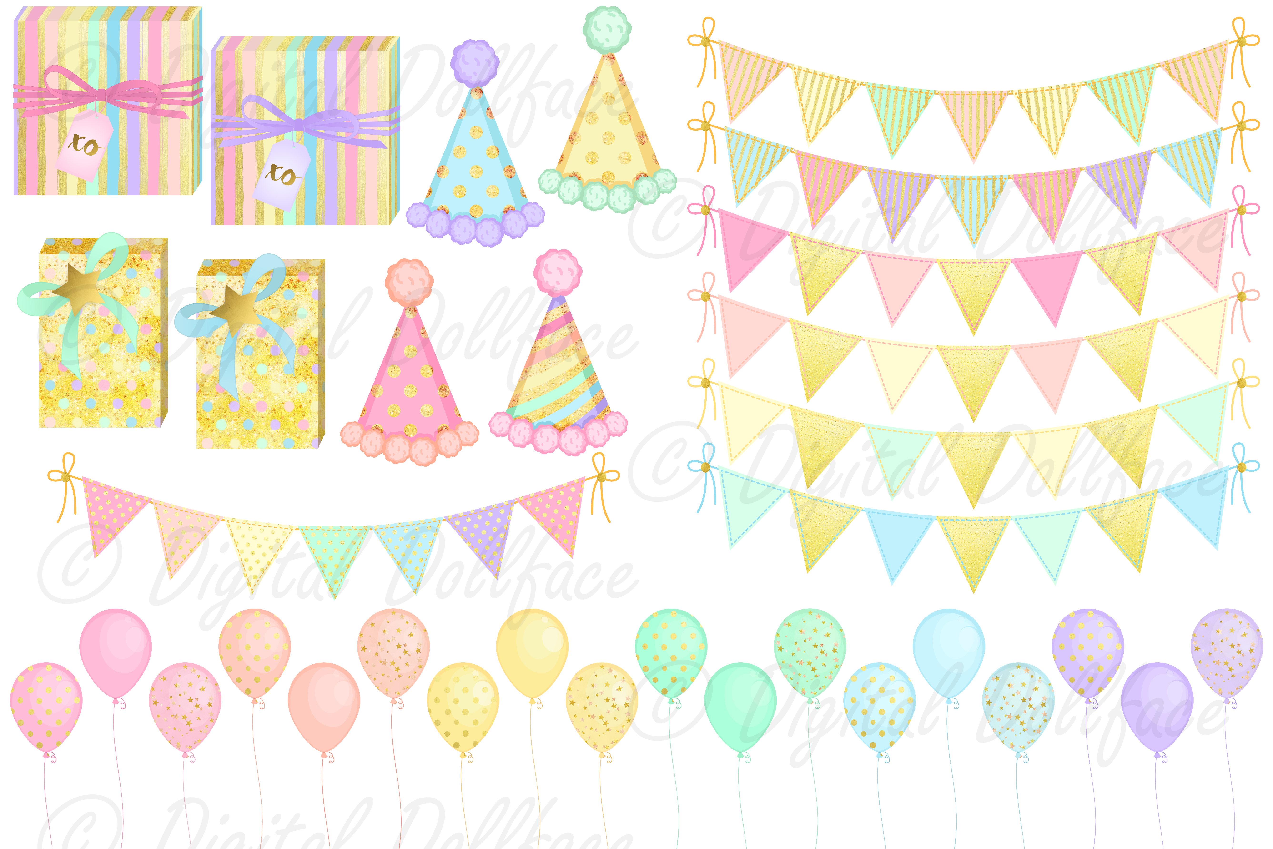 Happy Birthday Clipart and Digital Papers / Pastel Rainbow Party Graphics example image 2